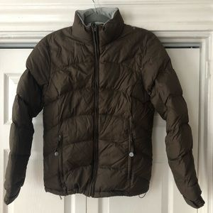 LLBean brown puffer jacket size XS